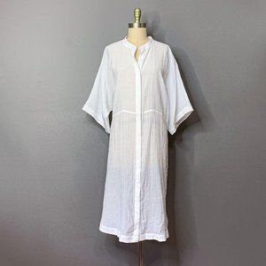 NWT H&M White Button-Up Sheer Caftan/Kaftan sz 14